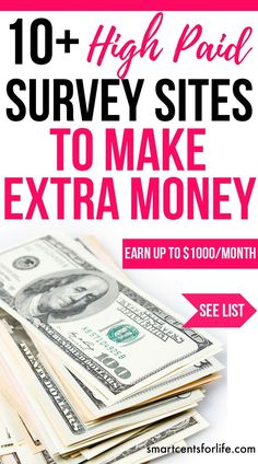 Over 10 high pay survey sites! Earn up to $1000 per month of extra income. Ideal for moms, college students or anyone who wants to earn a side income! Check out the list of these legitimate online survey sites and make money from the comfort of your own home! Make money from home, earn money, stay at home jobs, work from home jobs, stay at home mom jobs, survey for money #moneymakingideas #makemoneyonlinefast #surveyapps