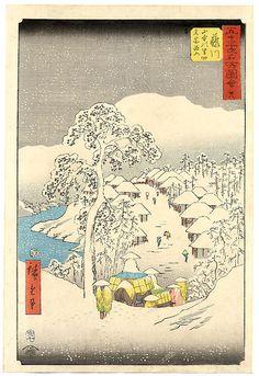 Hiroshige (1797-1858), Snow at Yamanaka Villeage Near Fujikawa  #art  #asian  #japanese