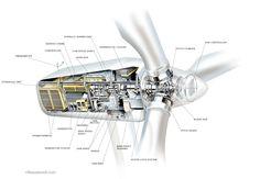 Wind turbine cutaway infographic illustration