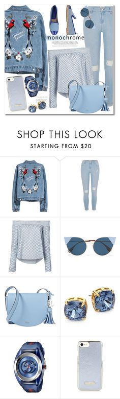 """""""Monochrome Blue"""" by vkmd ❤ liked on Polyvore featuring River Island, 10 Crosby Derek Lam, Fendi, Lauren Ralph Lauren, Tory Burch, Gucci and monochrome"""