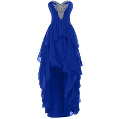 Sunvary 2015 High Low Ruffled Prom Evening Dresses Chiffon Bridesmaid... ($4.79) ❤ liked on Polyvore