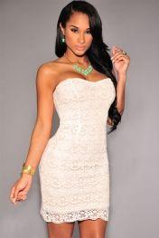White Nude Illusion Crochet Strapless Dress