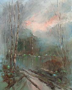 Vitaliy Mashchenko - modern oil painting, oil knife painting, oil paintings landscape, spring