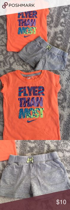 Girl's 2T Nike outfit The top is size 2T - Nike Brand. The coordinating gray shorts are Carter's brand and size 4T, but they run very small and fit my daughter when she was in 2T. She wore this outfit together. Excellent condition. **Comes from a smoke-free and pet-free home. Check out my closet for other boy and girl clothing items size newborn through 3T. I am in the process of selling my twins' clothes. I am always open to offers and bundle discounts! Happy Poshing! :) Nike Shirts & Tops…