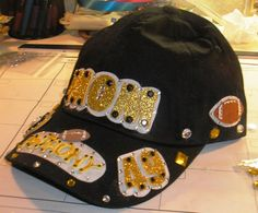 Latest crafty creation pics and info available on my blog at http://shopchristi.blogspot.com ~ Momma's Bling Bling Football Hat