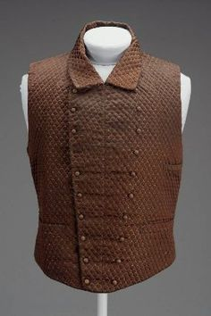 "Man's double-breasted brown silk waistcoat (woven to look like quilting), American, 1853. Label: ""W.G. Hunter Feby 22/53"""