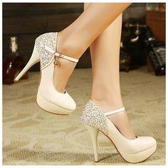 Sequined Straps Korean Princess Heel Shoes