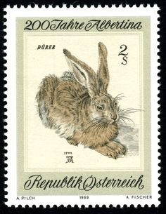 200 years Albertina, Austria, Republik Österreich, postal stamp with Durer hare, rabbit