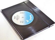 DIN A5 - Notizbuch Schallplatte upcycling Billy Idol - ein Designerstück von Aurum bei DaWanda