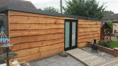 Details about Waney Edge Garage Cladding 11 per sq metre from lengths of - Modern Shed Cladding, Wood Cladding Exterior, Larch Cladding, Building A Garage, Garage Shed, Pallet Shed, Pallet House, Timber Buildings, Small Buildings
