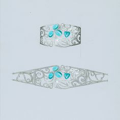 A stunning sketch of the 'Atlantic Blue' cuff, set with mesmerising electric…