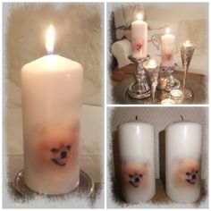 Lys med Theodor Pillar Candles, Decoupage, Candles