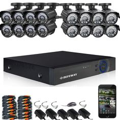 865.99$  Watch now - http://ali0x9.worldwells.pw/go.php?t=32741312803 - DEFEWAY 1200TVL 720P HD Outdoor CCTV Security Camera System 1080N Home Video Surveillance DVR Kit 16 CH 1080P HDMI Output 865.99$