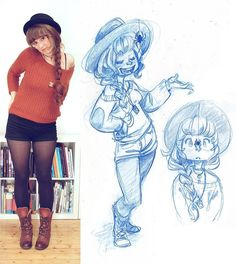 #sketcheveryday #sketchbook #sketches #ootd #schmoelfie :D did this drawing yesterday evening but was to tired to post it...I saw i girl on the train quite a while ago who had a spider running round and round on the brim of her hat... I couldn't help but wonder if it might come down in front of her face xD.. by schmoedraws