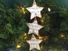 Star Ornament, Christmas Music Ornament, Christmas Hymn Ornament, Sheet Music Ornament, Rustic Ornament, Wooden Ornament, Wood, Silent Night by AtHomeWithWords on Etsy https://www.etsy.com/listing/475234892/star-ornament-christmas-music-ornament