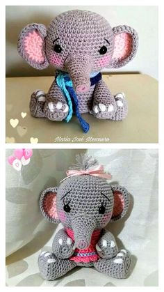Free Crochet Elephant Pattern & many amigurumi elephant idea... Crochet Elephant Pattern, Crochet Motif, Free Crochet, Crochet Patterns, Crochet Hats, Step By Step Crochet, Chrochet, Learn To Crochet, Ballerina