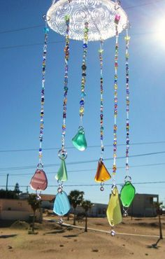 Sea Glass Wind chime /Mobile. $45.00, via Etsy.