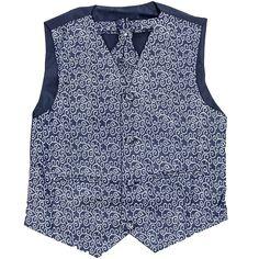 Boys Swirl Navy 3 Piece Waistcoat, Cravat & Handkerchief