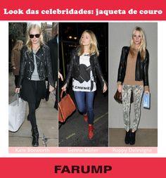 Quer apostar no look jeans + jaqueta de couro? Inspire-se nas celebridades!