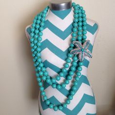 """Stella & Dot turquoise necklace & starfish brooch Never worn, perfect condition! Stella& Dot turquoise bead necklace and crystal/turquoise starfish brooch. 2 separate pieces. Necklace measures approx 60"""" total length and can be worn as double or triple strands.  Brooch also looks great clipped onto a purse! Stella & Dot Jewelry"""