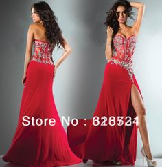 2014 Hot New Fantasy Strapless Red Appliques Beaded Long Chiffon Corset Bodice Prom Dresses Evening Dresses 113C50
