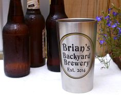 Great gift for him on Valentine's Day!   Stainless Steel Beer Tumbler  Personalized by Capcatchers on Etsy
