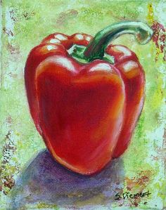 A still life painting of a red pepper by Sheila Diemert.  I've done many still life paintings including: apples, bananas, lemons, pears, peaches, persimmons, pomegranates, mushrooms, peppers, onions, turnips, radicchio, radishes, acorn squash, watermelon, and eggplants. This brings an appreciation for the beauty of fruits and vegetables--even turnips!   To commission your own still life painting, please contact me through www.sheiladiemert.com .