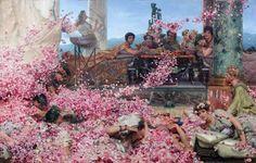 "Sir Lawrence Alma-Tadema 1888,Roses of Heliogabalus, antique, 24""x16"" Canvas Art"