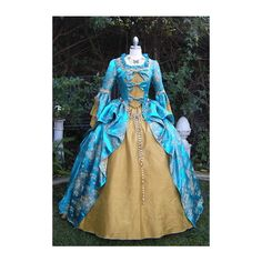 Turquoise/Gold Fantasy Marie Antoinette Gown/Costume-Sold ($950) ❤ liked on Polyvore featuring costumes, dresses, costume, gown, gold halloween costumes, gold costume, marie antoinette halloween costume, turquoise costume and marie antoinette costume