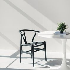 featuring the Wishbone Chair in black/black woven cord from Laura Davidson Furniture. Wooden Chair Plans, Dressing Table With Chair, Chairs For Small Spaces, Rustic Chair, Rustic White, Cool Chairs, Modern Chairs, Cord, Modern Bedrooms