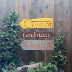 King Arthur Fantasy Story Signs - Camelot Avalon Lothian SCA Renaissance Fair Merlin Guinevere Knights Round Table Grail - Cedar Wood Decor