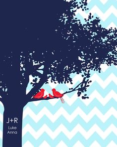 Family Tree Chevron nursery wedding love birds initials personalized navy red turquoise colors 11x14. $24.00, via Etsy.