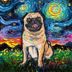 Fawn Pug Art Starry Night Art Print dog picture by Aja choose size, Photo Paper Watercolor Paper or Starry Night Art, Fawn Pug, Pug Art, Animal Decor, Pug Love, Architecture Design, Dog Pictures, Cute Animals, Animals Dog