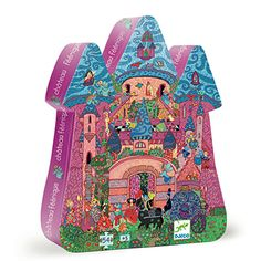 Djeco have the most wonderfully busy and interesting jigsaw puzzles and this Fairy Castle Jigsaw is no exception. Presented in a sturdy castle shaped box, this 54 piece puzzle features a bustling fairy castle scene in bright colours. Toddler Christmas Gifts, Toddler Gifts, Puzzle Djeco, Castle Silhouette, Pink Lila, Beautiful Fairies, Puzzles For Kids, Exercise For Kids, Educational Crafts