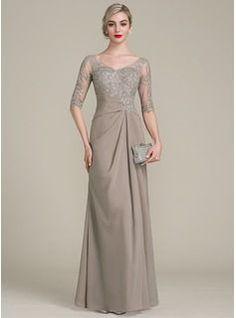 Vestidos princesa/ Formato A Decote V Longos Tecido de seda Renda Vestido para a mãe da noiva com Pregueado (008102681)