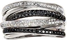White and black diamonds set in platinum