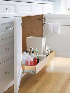 bathroom storage ideas - Re-organize your towels and toiletries during your next round of spring cleaning. Check out some of the best small bathroom storage ideas for Bathroom Organization, Bathroom Storage, Kitchen Storage, Bad Inspiration, Bathroom Inspiration, Bathroom Ideas, Bathroom Renovations, Bathroom Updates, Bath Ideas