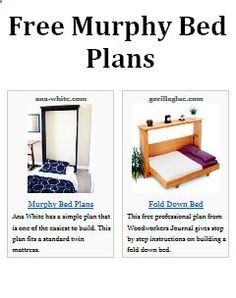 Free Murphy Bed Plans Image- for my craft room?