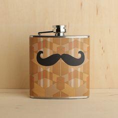 Moustache Wallpaper Flask 6oz