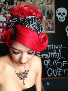 ♠Rockabilly - spiderweb headscarf and necklace