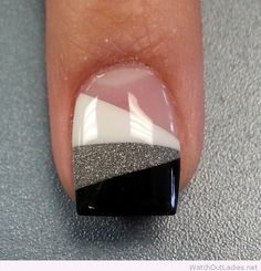 White, silver glitter and black nail
