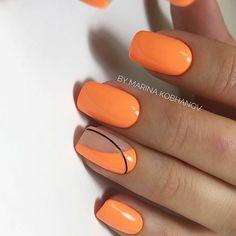 Semi-permanent varnish, false nails, patches: which manicure to choose? - My Nails Orange Acrylic Nails, Summer Acrylic Nails, Cute Acrylic Nails, Pink Nails, Summer Nails, Cute Nails, My Nails, Fingernails Painted, Orange Nail Art
