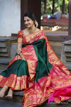 South Indian Bride Saree, Indian Bridal Sarees, Indian Silk Sarees, Wedding Silk Saree, Indian Beauty Saree, Kanchipuram Saree Wedding, South Silk Sarees, Kerala Saree, Ethnic Sarees