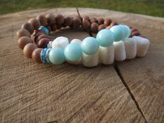 Bohemian Nature Bracelets, Sandalwood Seafoam Aquamarine Wood Beaded Stretch Bracelet, Spring Summer Jewelry Trend, Modern Jewelry, Tribal