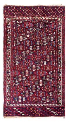 Yomut main carpet Turkmenistan, mid 19th century 9ft. 10 in. x 5ft. 5 in.