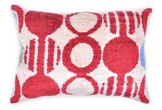 Maxa Ikat 23x15 Silk Pillow, Red/White on OneKingsLane.com