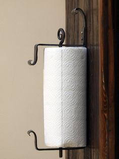 Wall Mounted Iron Paper Towel Holder. Hand Forged by a Blacksmith