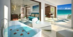 Sandals Royal Barbados Accommodations - Beachfront One Bedroom Butler Suite w/ Balcony Tranquility Soaking Tub - B1B