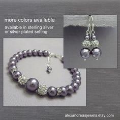 Wisteria Purple Bracelet and Earring Set, Swarovski Mauve Light Purple Bridesmaid Bracelet, Wedding Bracelet, Bridesmaid Gift Bracelet Set