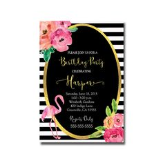 Black and White Flamingo Birthday Party Invitation This Listing is for a 5x7 Printed Invitation and White A7 Envelopes Digital/Printed Invitations are available here: https://www.etsy.com/listing/237263304/black-and-white-flamingo-birthday-party?ref=shop_home_active_2 PRINTED INVITATIONS ===================== • Please include Your Party Details in the ...